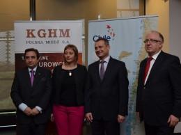 Od lewej Alfredo Garcia Castelblanco ambasador Chile w Polsce, Aleksandra Piątkowska, ambasador Polski w Chile, Zdzisław Gawlik, Sekretarz Stanu w MSP, Herbert Wirth, prezes KGHM