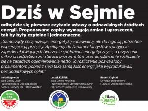 apel do posłów w sprawie OZE