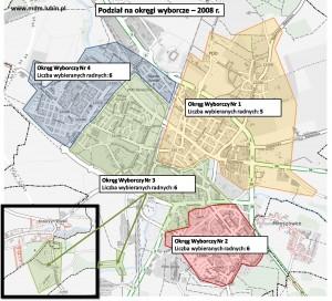 Okręgi wyborcze w Lubinie 2008 r.
